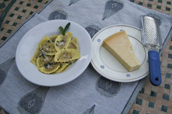Pumpkin ravioli with sage and butter sauce