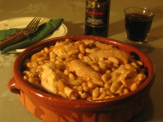 Cassoulet bean stew with Cahors wine