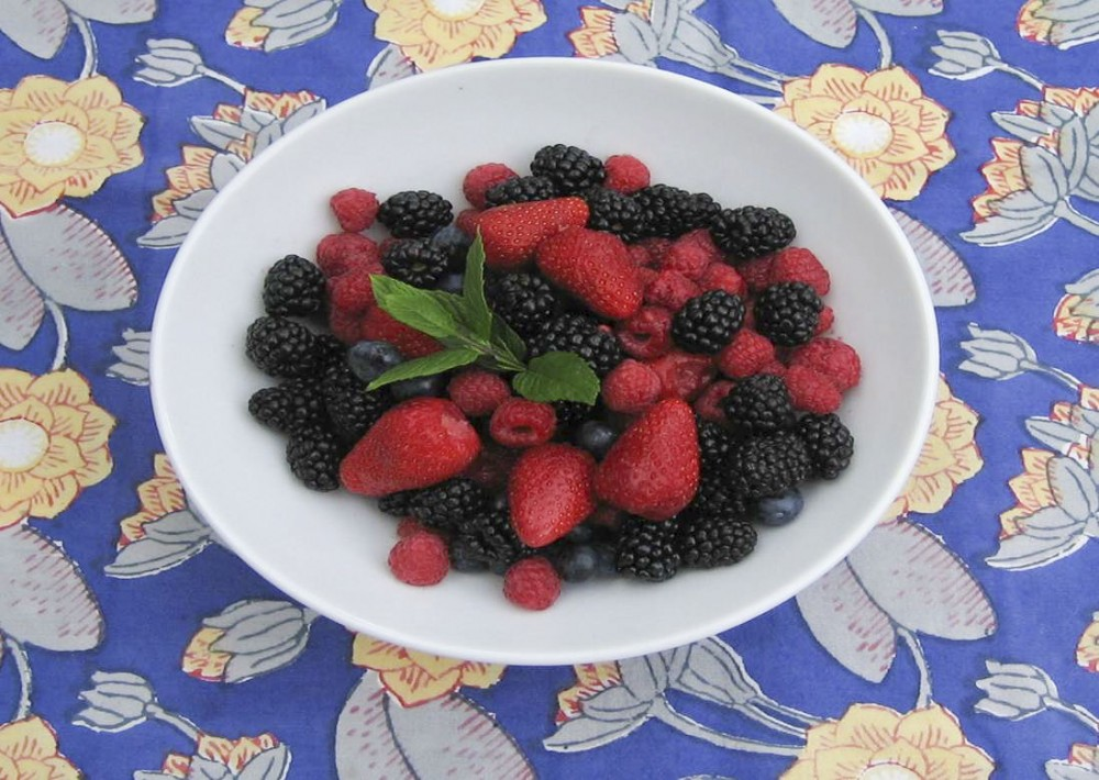 bowl of strawberries, raspberries and blueberries